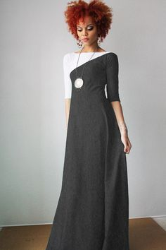 Oh my!  I love the dress and while we're at it can I have the model's hair?! Grey and White 3/4 Sleeve Maxi Dress