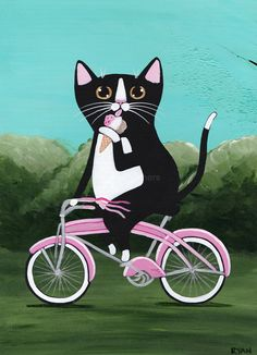 Fat Cat With Ice Cream on a Bicycle Original by KilkennycatArt