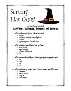 Here is a fun quiz to have students take (or yourself) take to help sort them into their appropriate houses! Have your students write an opinion paragraph afterwards explaining why the sorting hat was right/wrong :) Please leave honest feedback and enjoy!
