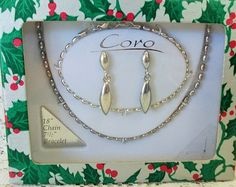 """Vintage Coro Jewelry Set in Christmas Gift Box, Silvertone Seed Beads - 18"""" Necklace, 7.5"""" Bracelet and Dangle Post Earrings"""
