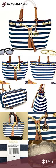 Michael Kors Chic Marina Large Canvas Striped Tote You'll look ultra chic with this classic looking boat bag! Navy and white striped canvas with leather trim and rope drawstring give it a classic look- while the MK tassels and MK brass hardware give it a chic style! Leather trim dual handles with a 8 inch drop. Inside signature lined fabric bucket. Back inside wall a zipper compartment and 2 slip pockets. Inside front wall 2 slip pockets. Approx measures 12 inches High, 16 inches wide, by 8…