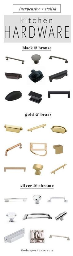 where to buy affordable kitchen hardware knobs and pulls, farmhouse style kitchen cabinet hardware for cheap, cheap black, chrome and brass cabinet pulls & knobs, | theharperhouse.com