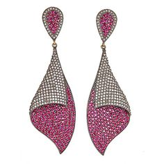 ALANNE EARRINGS with ruby pavé setting