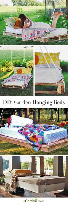 DIY Outdoor Hanging & Swing Beds for Your Porch & Garden DIY Garden Hanging Beds Pallet Bed Tutorials Love Love Love these! The post DIY Outdoor Hanging & Swing Beds for Your Porch & Garden appeared first on Pallet Diy. Outdoor Projects, Pallet Projects, Home Projects, Diy Garden Bed, Porch Garden, Hanging Beds, Diy Hanging, Outdoor Hanging Bed, Outdoor Swings