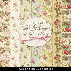 Far Far Hill - Free database of digital illustrations and papers: New Freebies Kit of Papers - La Beauté De La Flore...