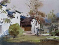 Watercolor International II: Lian Gang. The most beautiful village in China, watercolor