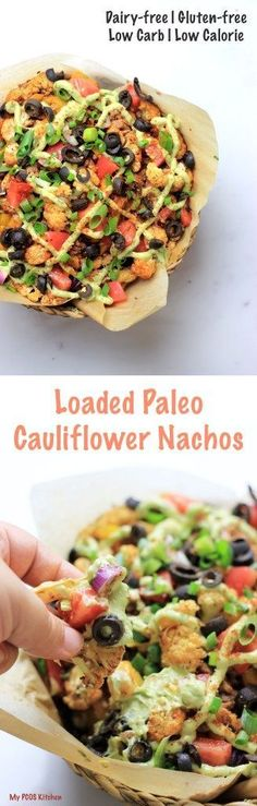 Loaded Paleo Cauliflower Nachos. These nachos are filled with your traditional…