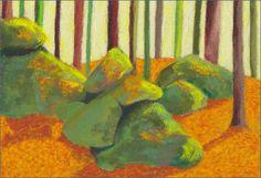 MAHO: Artiste peintre et Mail-artiste: Pastels secs. Titre: DES TRONCS ET DES ROCHES, pastels secs sur pastelcard, 14x20 cm. -2015-