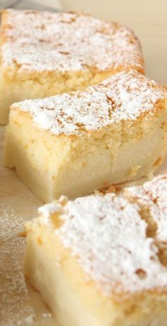 This Magic Custard Cake Is Truly Quite Magical. Utilizing Simple Ingredients, The Batter Separates Into Three Layers As It Bakes. The Bottom Is A Slightly Dense Custard. The Middle Is A Smooth And Soft Custard. The Top Is A Light And Moist Sponge Cake. Beaux Desserts, Just Desserts, Delicious Desserts, Dessert Recipes, Yummy Food, Simple Sweets Recipes, Egg Desserts, Magic Cake Recipes, Dessert Bars