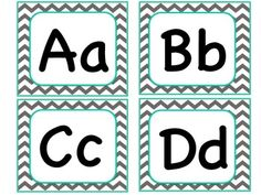 Teal and gray chevron alphabet cards. Can be used for your word wall in addition to the chevron word wall words.