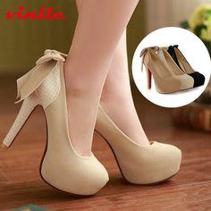 VINLLE 2014 Women Ladies Platform Pumps Sexy Bottom High Heels Prom Heels Wedding Dress Shoes Wedding Shoes size 34-42 US $13.50