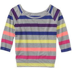 Juniors Stripe Banded Bottom Dolman Top