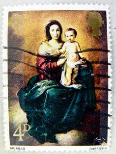 Great Britain 4p pence UK Virgin Mary Madonna Jesus Christ Holy Night postage