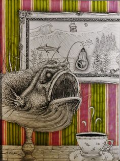 Tea time at grandma's. Furnished with an authentic Sea Devil Fish Lamp on the backdrop of old striped wallpaper and a framed seascape. pen, ink and marker drawing