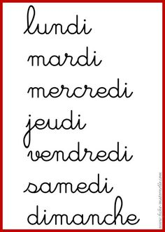 Les jours de la semaine en maternelle et élémentaire French Teaching Resources, Teaching French, French Cursive, Maternelle Grande Section, Caligraphy Alphabet, Best Seo Tools, Petite Section, Learn Calligraphy, French Class