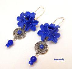 #Blue earrings Flower #earrings Dangle earrings by insoujewelry