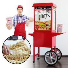 Die Popcornmaschine mit Wagen - Premium Edition zum Selbermachen ist eine hochwertig verarbeitete Maschine inklusive Innenbeleuchtung für Dein leckeres Popcorn   zuhause! In nur einer Minute eine Portion und bis zu 5 Kilogramm popcorn in einer Stunde - effektiver und stylischer geht es nicht!
