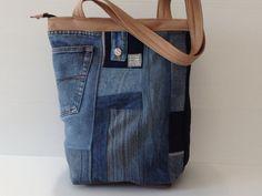 blue jeans bag eco bag vegan denim crazy quilt by LIGONbyRuthi