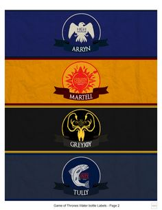 Game of Thrones - Water Bottle Labels by KTL