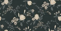 Albany House Vinyls 9 (822526) - Albany Wallpapers - A smart versatile raised textured vinyl wallcovering featuring a stunning floral trail design. Showing in cream with metallic effects on a black background. Please request a sample for true colour match. More colours are available.