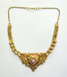 Vintage antique solid 22k Gold jewelry Diamond Polki Enamel work