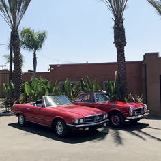 Taking it back and taking it way back! #MERCEDESMONDAY 🍒🍒 Left: '85 #280SL Right: '65 #230SL Both available at beverlyhillscarclub.com Beverly Hills Cars, Classic Mercedes, Mercedes Benz, World, Instagram Posts, Club, The World