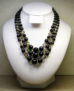 VINTAGE OLD PLASTIC NECKLACE WITH FACETED BLACK AND FAUX CRYSTAL BEAD,3 STRAND