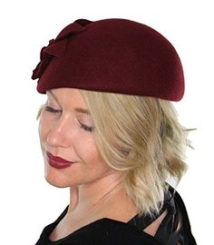 Amazon.com: Annabel Pillbox Hat Wool with Flower Vintage Flapper Tea Party Church with Flower (Black): Clothing