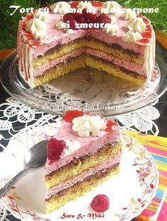 Tort-cu-crema-de-mascarpone-si-zmeura1 Romanian Desserts, Romanian Food, Romanian Recipes, Sweet Recipes, Cake Recipes, Dessert Recipes, Ricotta, Food Cakes, Confectionery