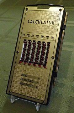 Vintage Magic Brain Mechanical Pocket Calculator, Made in Japan.