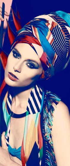 °★ ☽ FORGET ME NOT ☾ ★ Silk scarf as a turban. So cool.