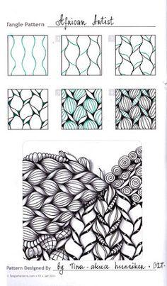 Photo: Zentangle. Обучение. Формат страницы А5. Гелевая ручка, карандаш. Шаблон с сайта TanglePatterns.com.