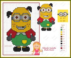 little girl minion Cross Stitch Boards, Cross Stitch Bookmarks, Beaded Cross Stitch, Cross Stitch Embroidery, Disney Cross Stitch Patterns, Counted Cross Stitch Patterns, Cross Stitch Designs, Stitch Character, Kid Character