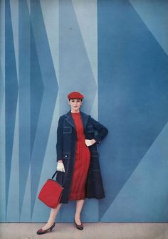August Vogue, 1956. Wearing a blue-jean coat, jersey lined to match the dress made of Orlon and wool, by Donald Brooks. #vintage #1950s #fashion