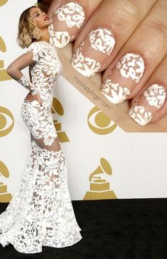 MANICURE MUSE: Beyonce in Michael Costello, Grammy's '14 via #missladyfinger #whitenails #designernails #nailart - bellashoot.com