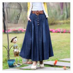 S XL Long Jean Skirts Womens denim skirts Girls Bohemia Pleated jupe blue saia longa Female maxi skirt Elastic waist Female-in Skirts from Women's Clothing & Accessories on Aliexpress.com | Alibaba Group