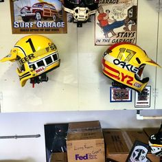 Broc Glover and Ricky Johnson in the DGVMG. These iconic lids now reside in new homes. #brocglover#rickyjohnson#motocrosshistory #motocross #supercross#badboy#goldenboy#redbull#dunlop#dgvmg #dgcollection