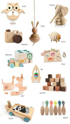 WOODEN TOYS... I love these because they somehow don't look like so much clutter, as plastic toys.