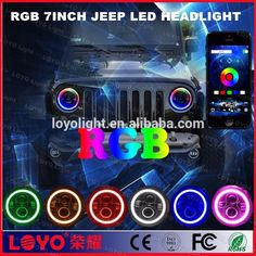 """kelly@loyolight.com  / Whatsapp: 0086 13650984937 7"""" LED Headlights Bulb high low beam multi-color RGB Angel Eye halo ring with Bluetooth Remote (iPhone and Android Compatible Bluetooth App Control) for 1997~2016 Jeep Wrangler JK LJ CJ Hummer H1 H2 Headlamp Driving Light #7inchheadlight #jeepheadlight #angeleyesheadlight #RGBjeepheadlight #highlowbeamheadlight #haloheadlight #angeleyesheadlight #bluetoothheadlight #jeepheadlamp #leddrivinglight #multicolorlight #jk #Lj #Cj #haloringheadlight…"""