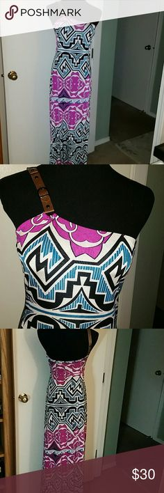 Cruise or casual dress one shoulder open This dress would be perfect for a cruise or just and every day party. Off the shoulder pleather strap size medium Symphony Dresses Maxi