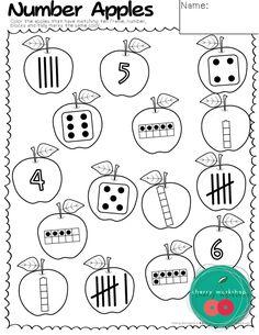 Back to School Activities - number sense - apple theme numbers