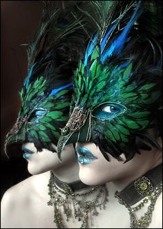 Green Mask by *enayla on deviantART. Love the peacock theme, the support makeup and lip crystal. The all mostly feathers. Glitter on the base and over the little bottom parts of feathers. Like filigree accent only one place.