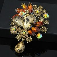 Women Christmas Gift Fashion Alloy Brooches glass bra pin Wedding brooches free shipping