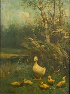 Currently at the Catawiki auctions: Constant D.L. Artz  (1870-1951), Duck with five ducklings-oil on Panel-signed