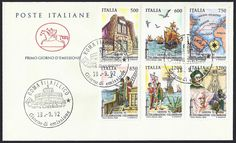 Italy First Day Cover Scott #1906-11 (18 Sep 1992) Genoa '92 issue, set of six stamps: Columbus' house in Genoa, Columbus' fleet, Map of first voyage, Columbus pointing to land, Columbus coming ashore, Columbus (Colón, Colombo) and art by Michelangelo.