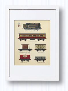 Train Wall Art Prints for Boys Vintage by LittleGrippersDecals, $8.00