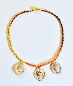 3 arancione collana collare uncinetto di GabyCrochetCrafts su Etsy