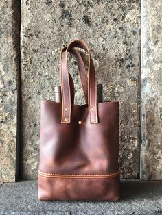 brown leather wine tote  cowhide leather tote  leather - great gift for Dad