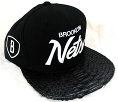 Brooklyn Nets Black Snakeskin Strapback Hat  7399af5d5ac0