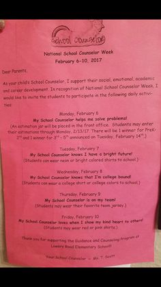 Dress up Theme for National School Counseling week